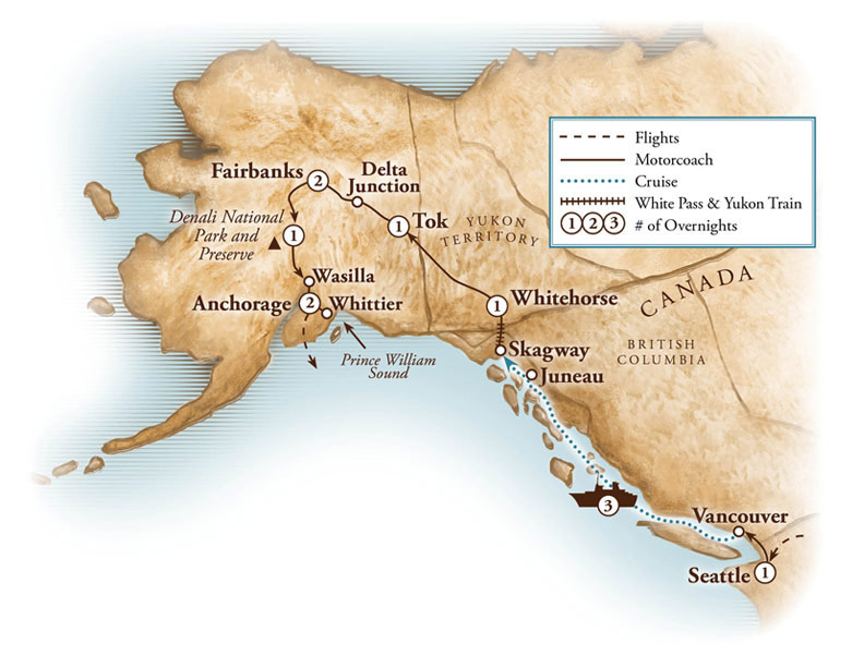 Tour Map for Alaska & Inside Passage Cruise