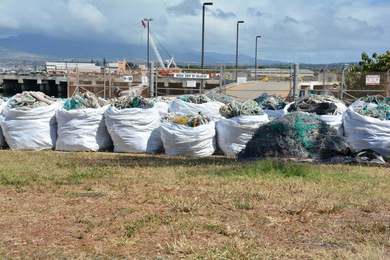After a long transit, the NOAA ship Hi'ialakai returned to Pearl Harbor, Honolulu on May 13, 2016. The Marine Debris team collected over 20,000 lbs of marine debris from Northwestern Hawaiian Islands. Photo: NOAA Fisheries