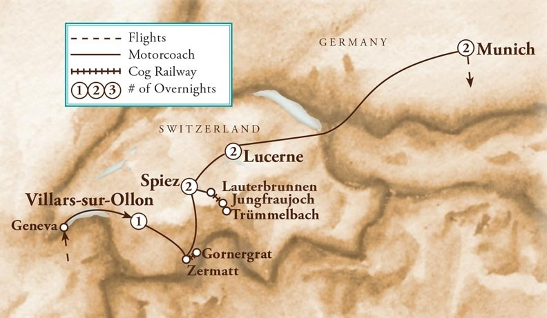 Tour Map for Swiss Alps & Bavaria