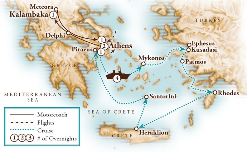 Tour Map for Classical Greece Land & Cruise