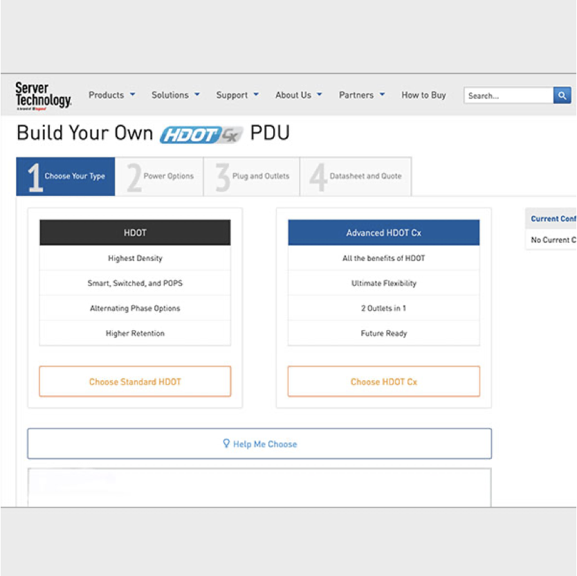 Screen shot of PDU configurator page for Server Technology
