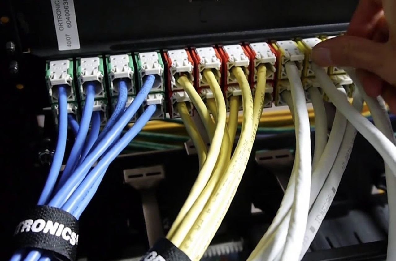 Several colored wires coming out of a cable box