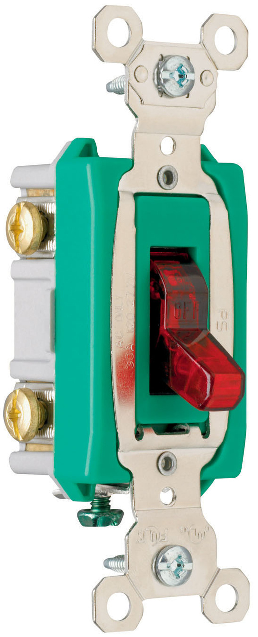 Industrial Extra Heavy-Duty Specification Grade Switch, Lighted When On, Back & Side Wire, PS30AC2RPL
