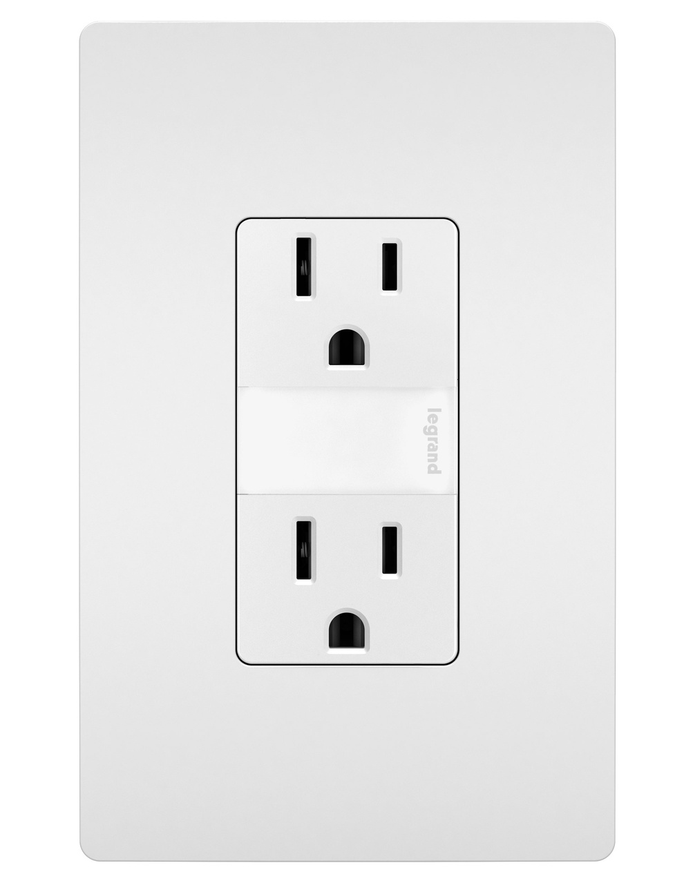 Night Light with Two 15A Tamper-Resistant Outlets, White
