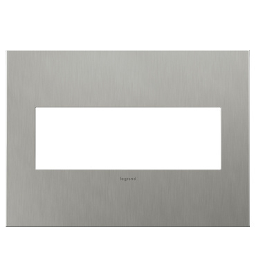 adorne 3-Gang Brushed Stainless Wall Plate