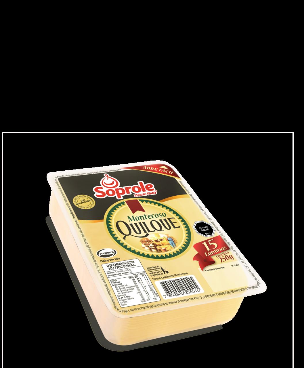 Soprole queso quilque mantecoso laminado 250g