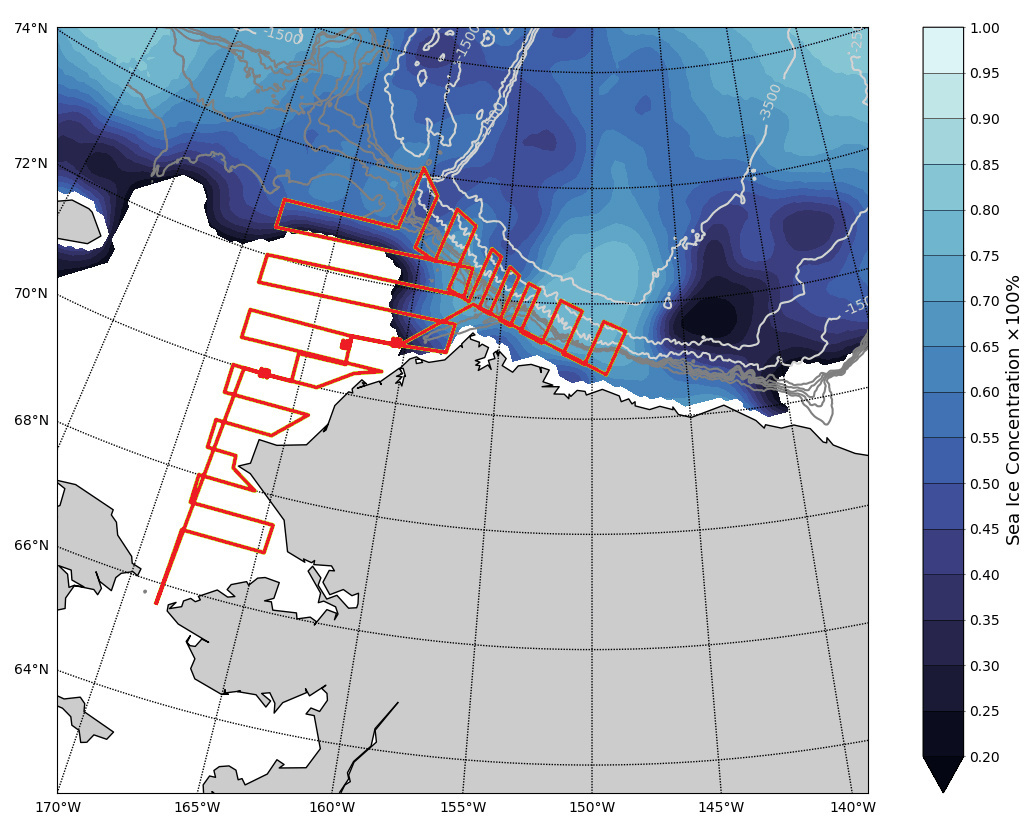 A map of the complete planned route for one saildrone (red lines) showing the extent and concentration of sea ice.  Currently, the entire Beaufort Sea region of the route is still ice-covered (sea ice data courtesy of EUMESTAT OSI SAF).