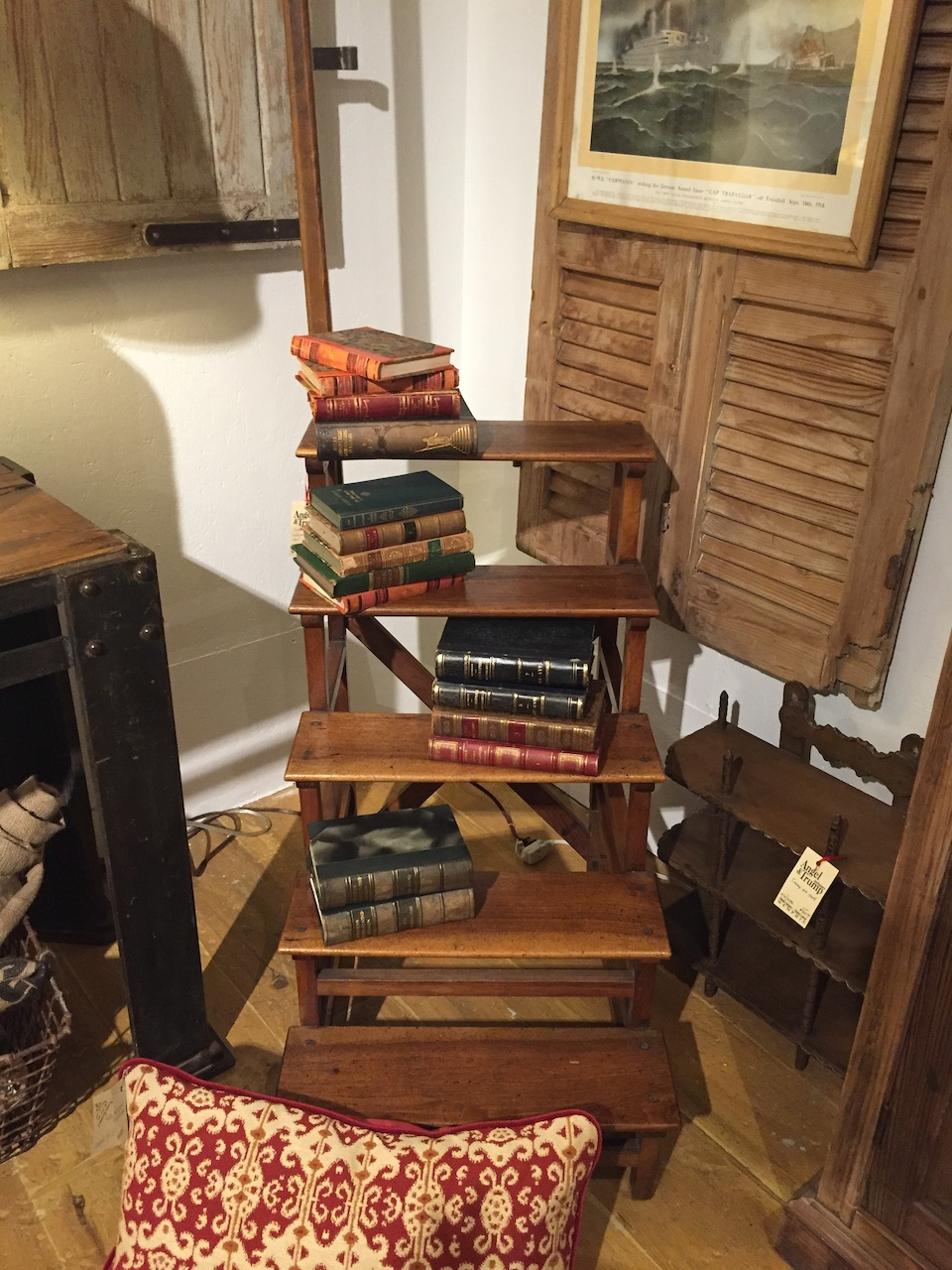 Vintage library steps from the Angel & Trump booth at Palladio Interiors, $1975