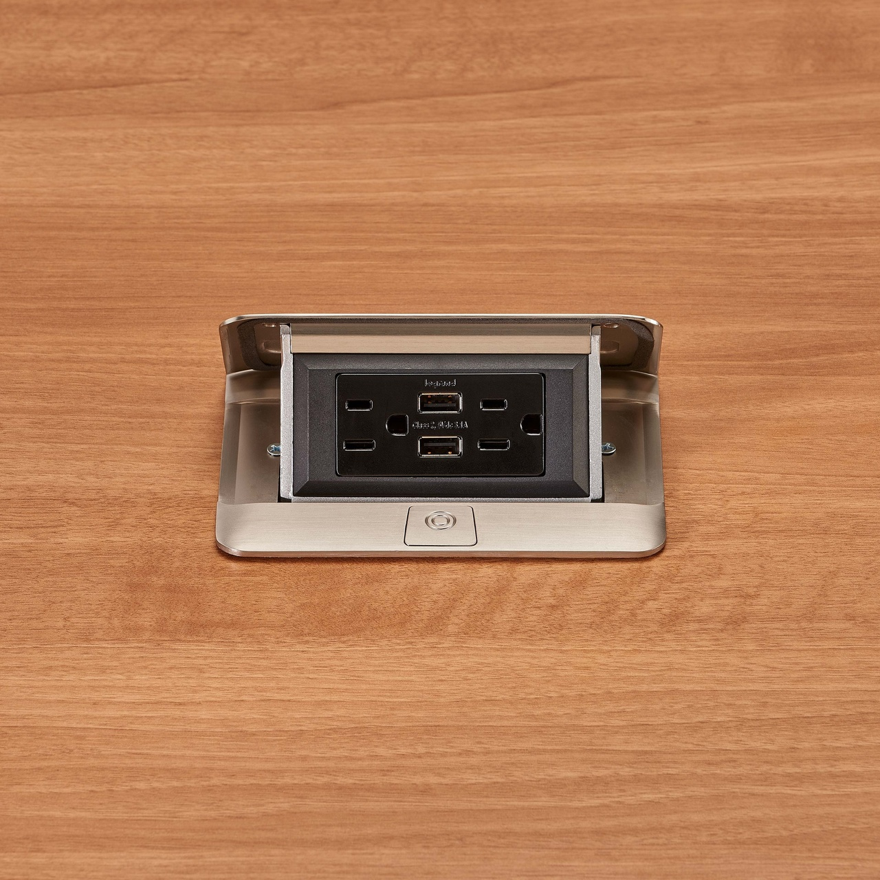 deQuorum Flip-Up Table Box 1-Gang 15A recep 3.1A USB, stainless steel finish-open view, DQFP15UST
