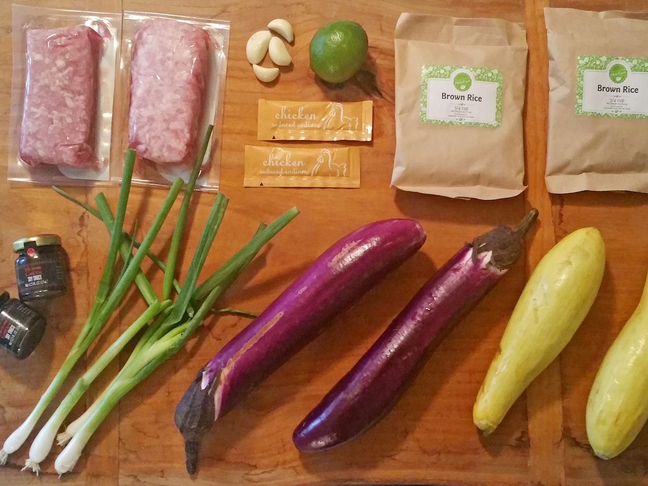 The ingredients for the pork and Chinese eggplant stir-fry over brown rice
