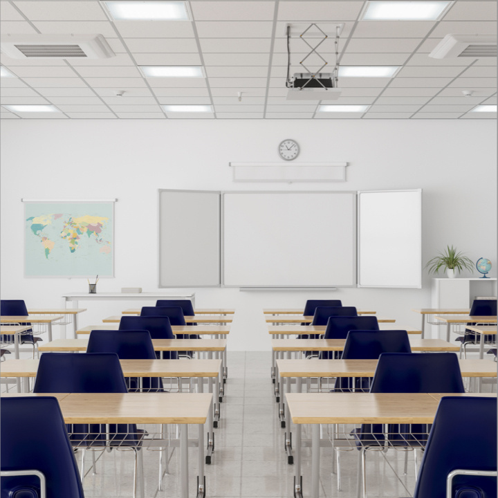 Classroom space with desks in rows