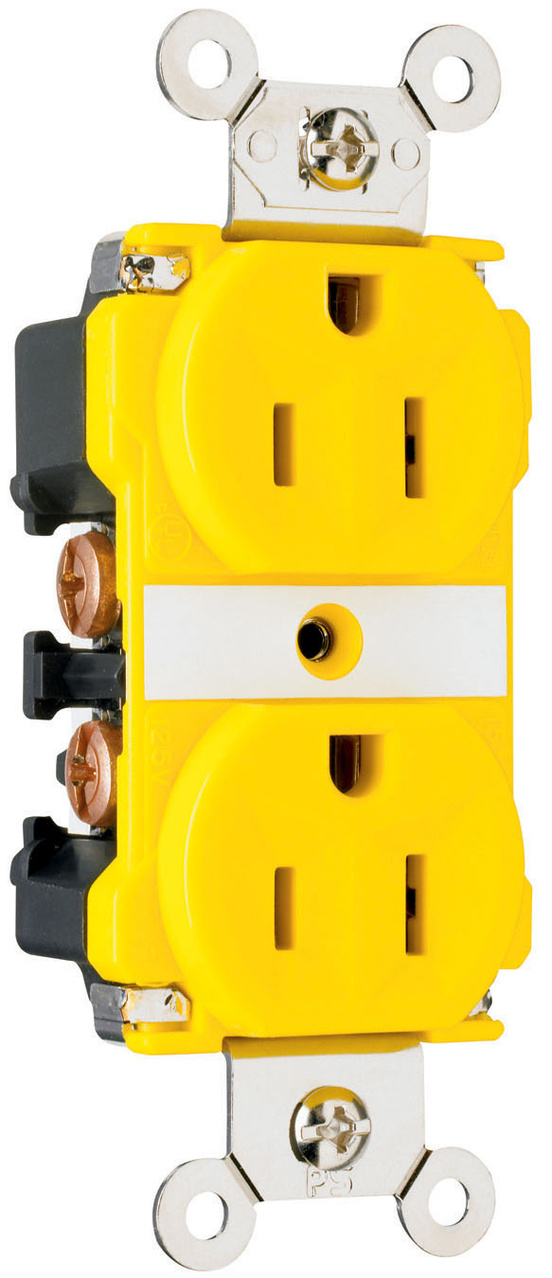 Industrial Extra Heavy-Duty Spec Grade Receptacles, Corrosion-Resistant, Back & Side Wire, 15A, 125V, Yellow