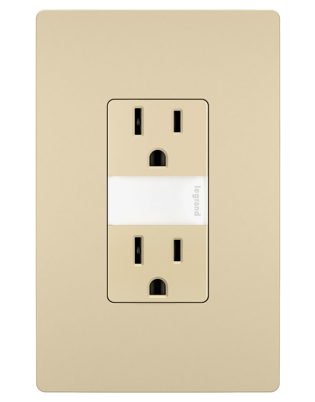 Night Light with Two 15A Tamper-Resistant Outlets, Ivory