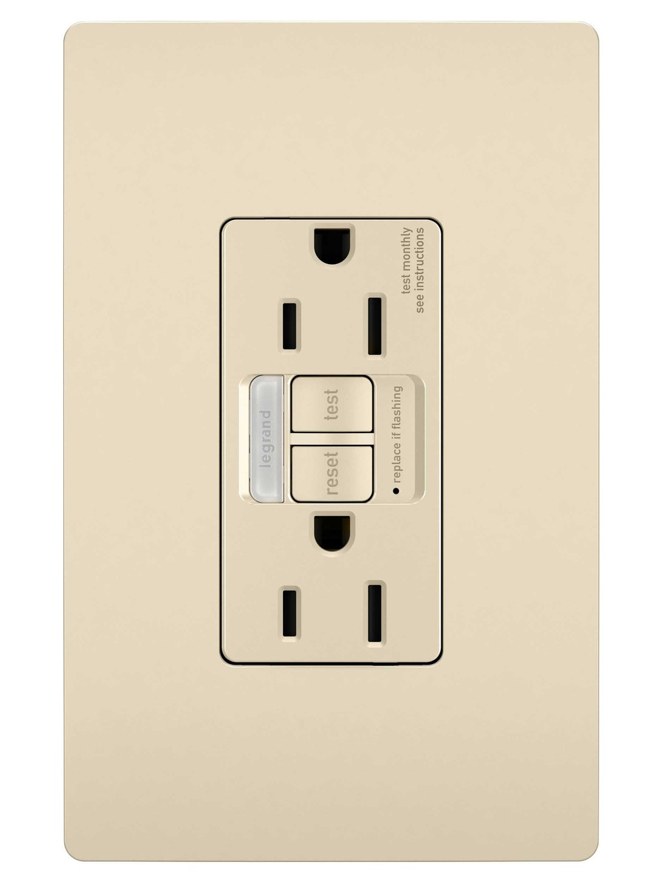 Outlets by legrand combination tamper resistant 15a self test night lightgfci light almond mozeypictures Image collections