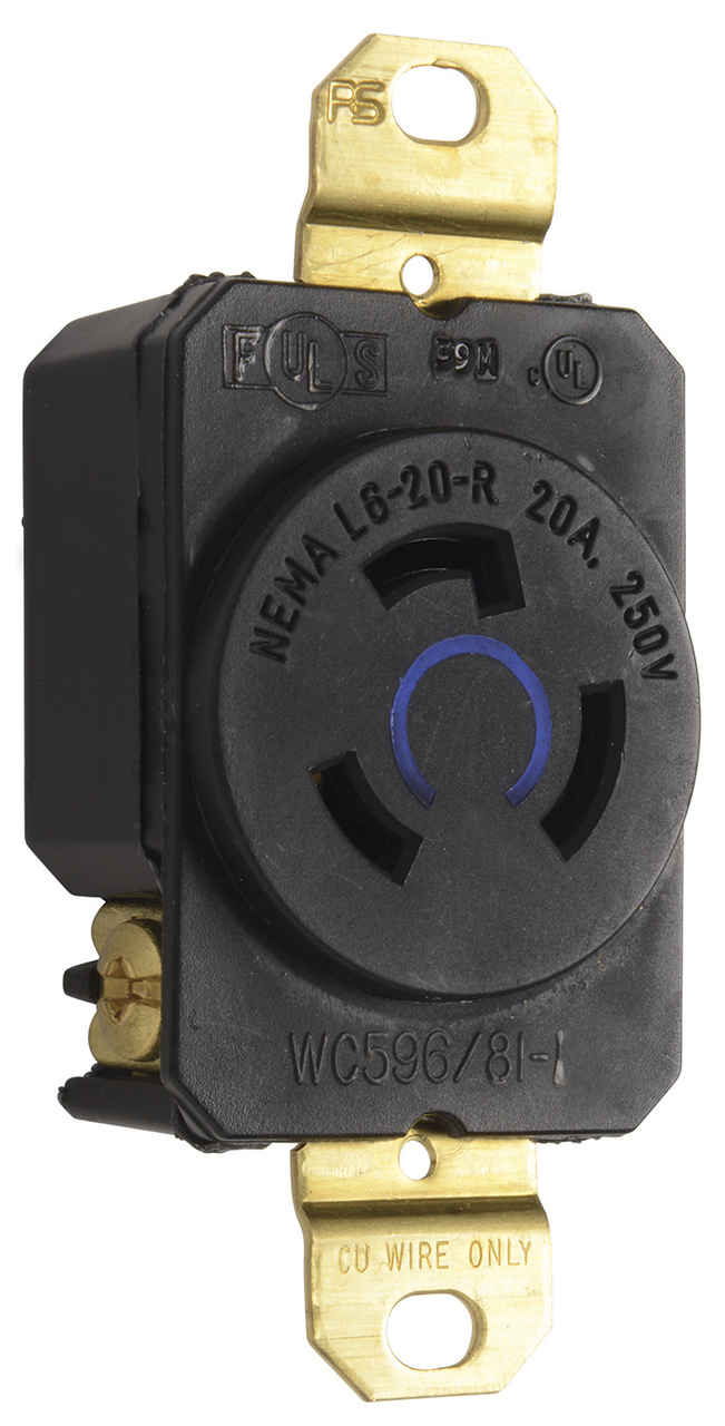 20 Amp NEMA L620 Single Receptacle, L620R | Legrand Nema L R Receptacle Wiring Diagram on nema l6 30 wiring diagram, nema l6-30p diagram, 3 wire 220 volt diagram, 120 volt outlet diagram, 3 wire 220 outlet diagram, 4 wire 220 volt diagram, 110 ac outlet diagram,