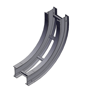 Cable tray 3D rendering of metallic vertical fitting elbow inside 90 degree section
