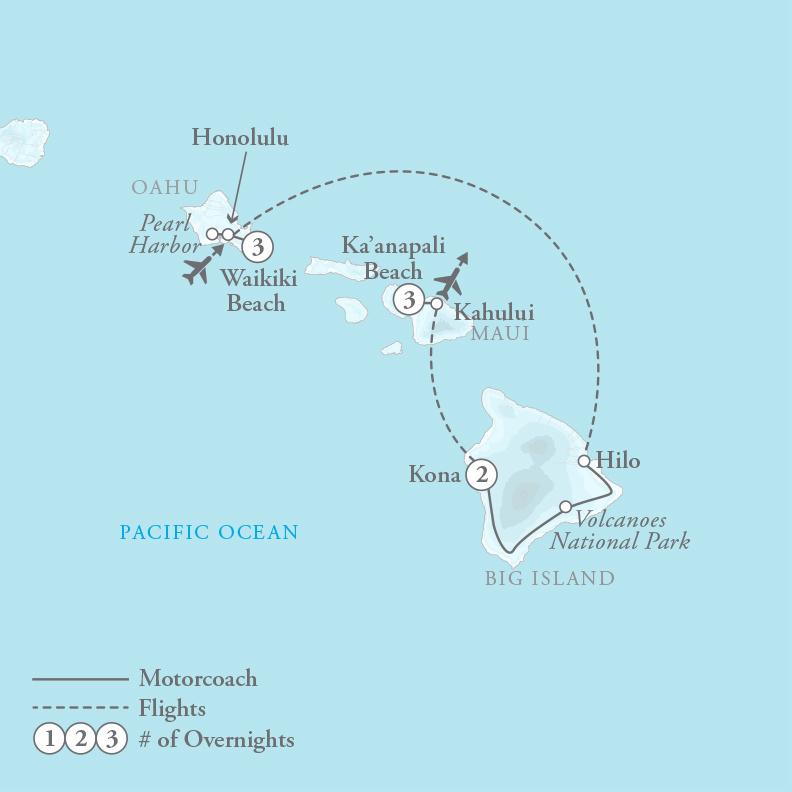 Tour Map for Hawaii Three Island Paradise