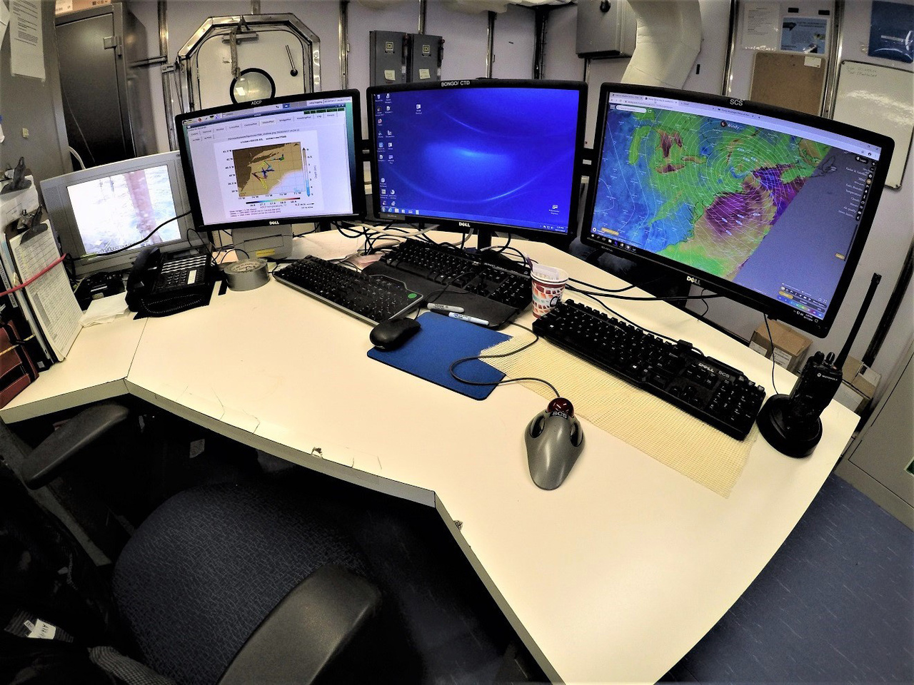 multiple computer monitors ready to display real-time data on seawater composition
