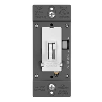 TOGGLE SLIDE DIMMER FLUORESCENT / LED 0-10V, SINGLE POLE / 3-WAY, WHITE