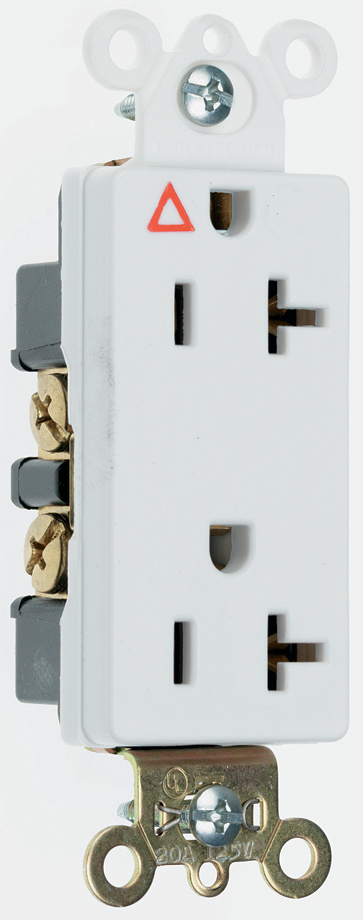 ISOLATED GROUND HEAVY-DUTY DECORATOR SPEC GRADE RECEPTACLES, BACK & SIDE WIRE, 20A, 125V, WHITE
