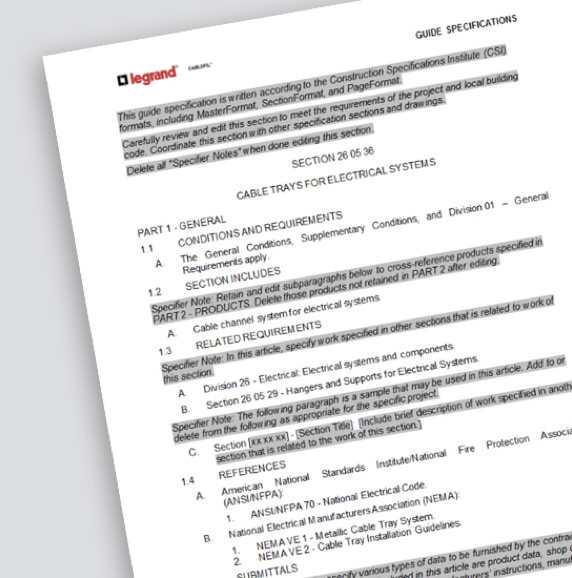 Page of guide form specifications for Cable Channel