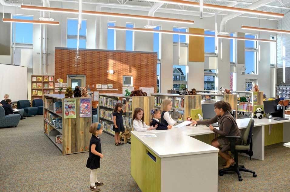 Overhead lighting system in children's school library