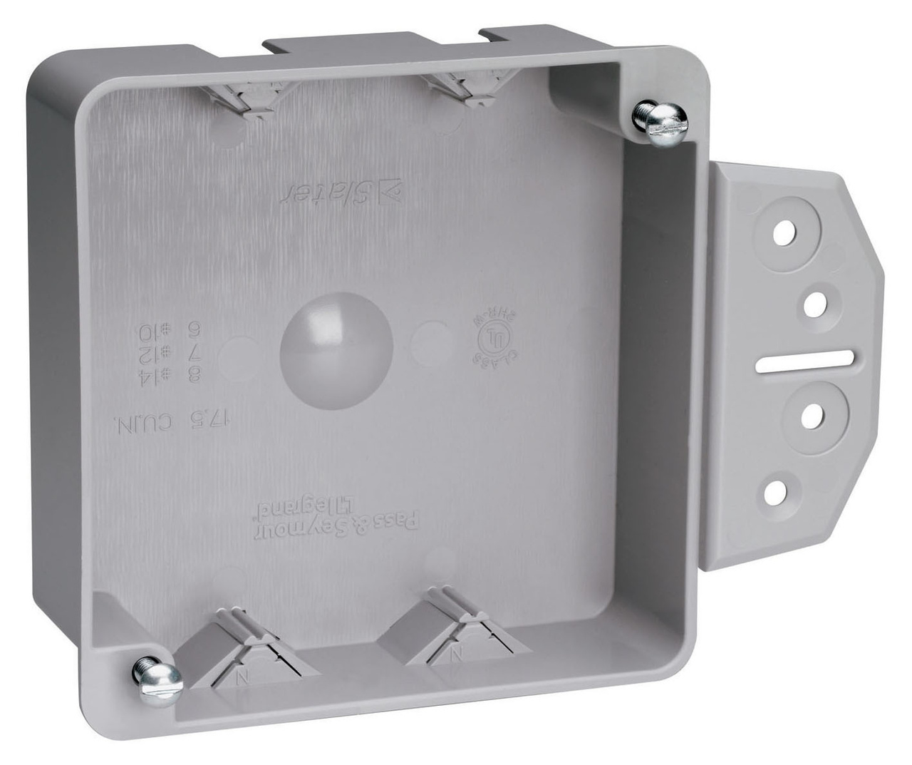 "Shallow 4"" Square Box with Threaded Mounting Holes, S4418BAC"