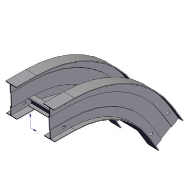 Cable tray 3D rendering of metallic vertical fitting elbow outside 60 degree section