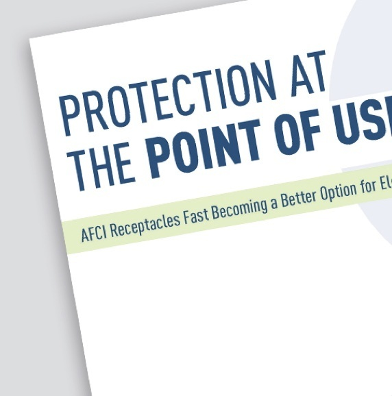 "Page of AFCI product resource with title ""Protection at the Point of Use"""