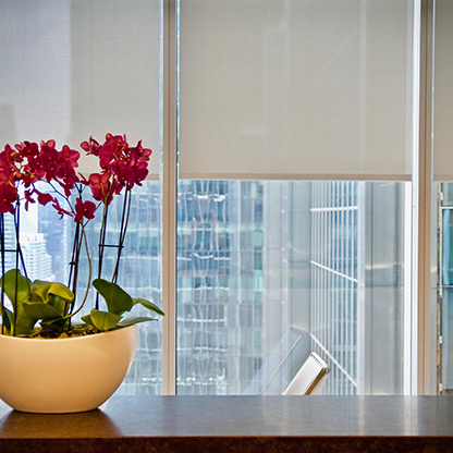Wooden table with potted red flowers on top in front of large office windows with white shades