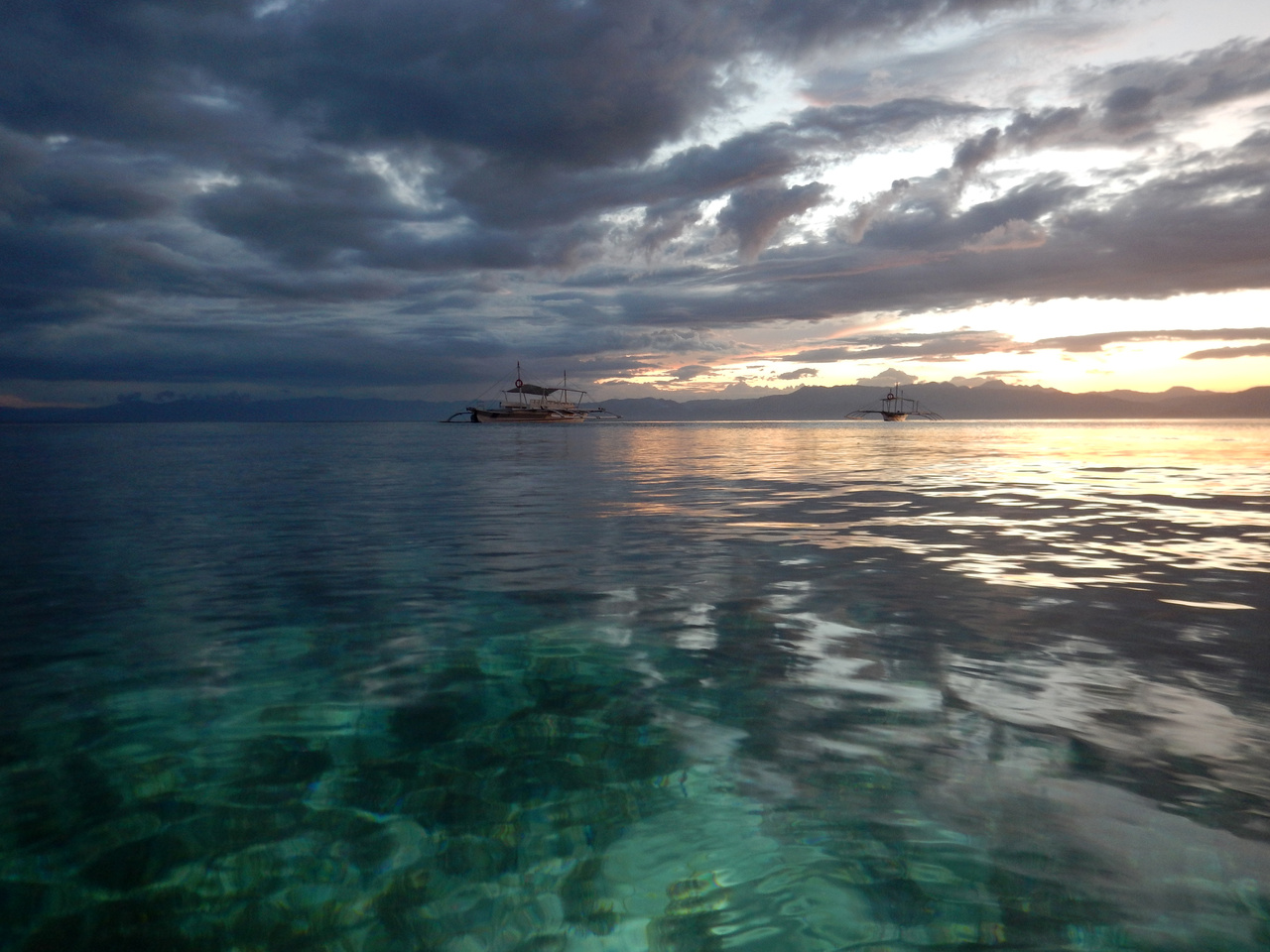 Sunset over the ocean at Moalboal, Philippines