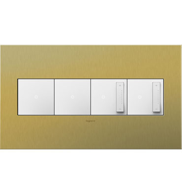adorne 4-Gang Brushed Brass Wall Plate
