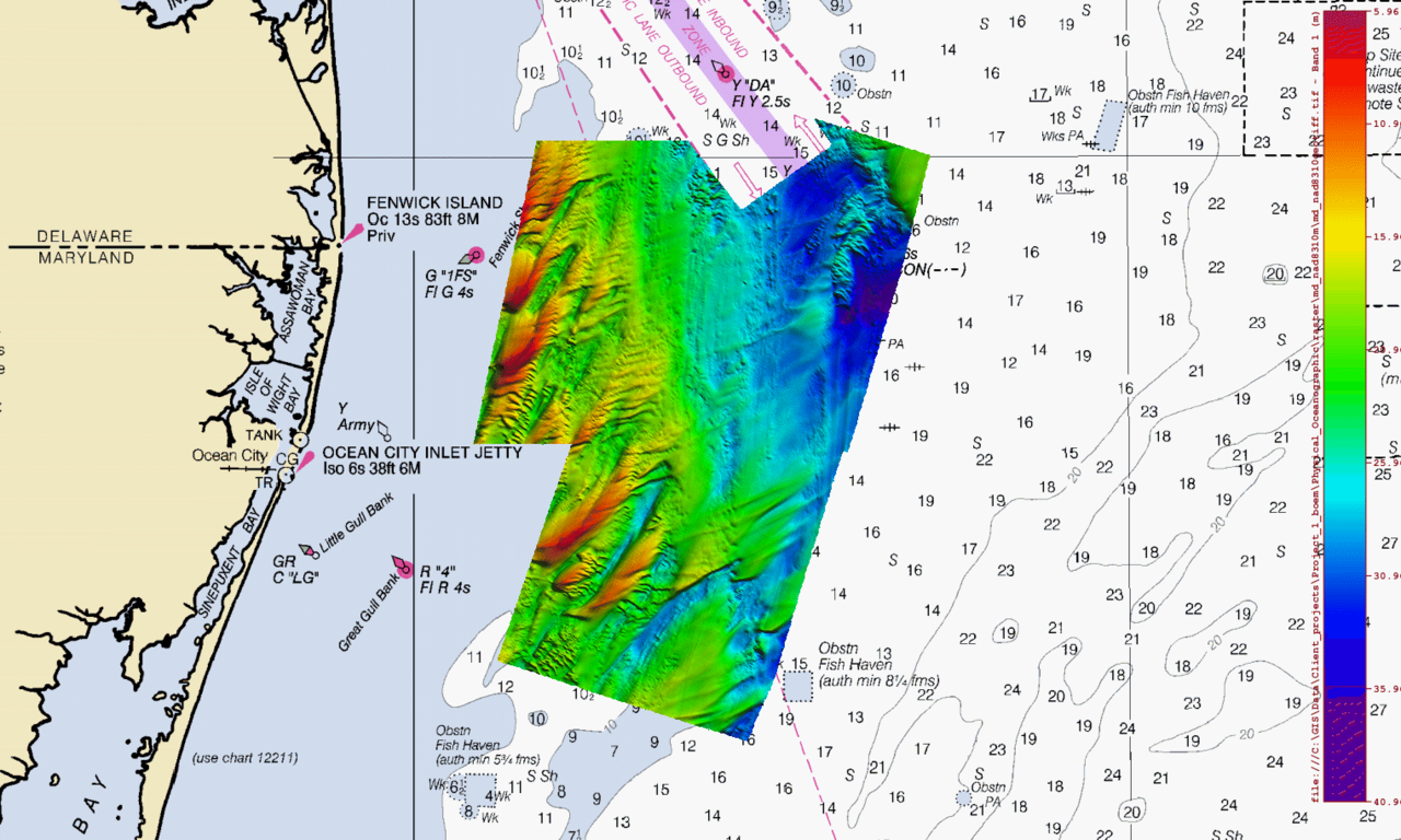 bathymetric chart of area off coast of DE/NJ