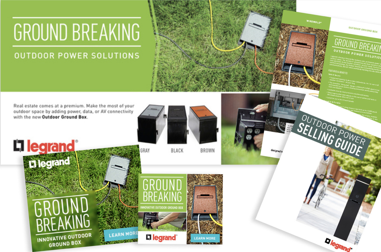 Collage of outdoor ground box marketing resources