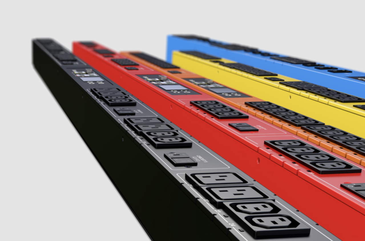 Power Distribution Units for data centers in black, red, orange, yellow and blue