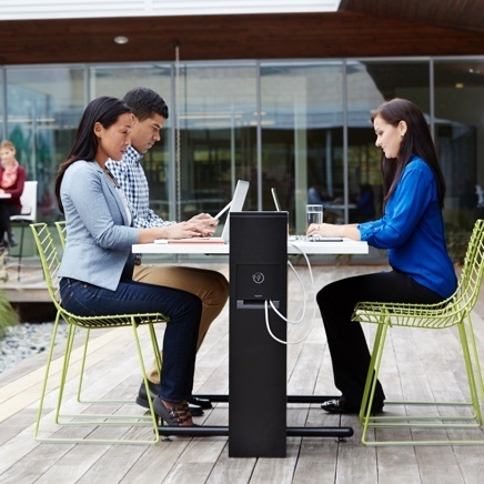 Outdoor charging station providing power and charging to outdoor work station