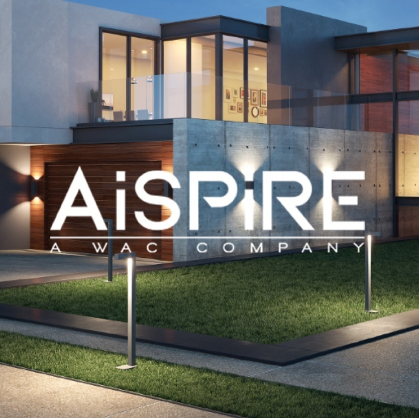 Exterior of modern home with lights on and the AiSPiRE - A WAC Company logo on the foreground