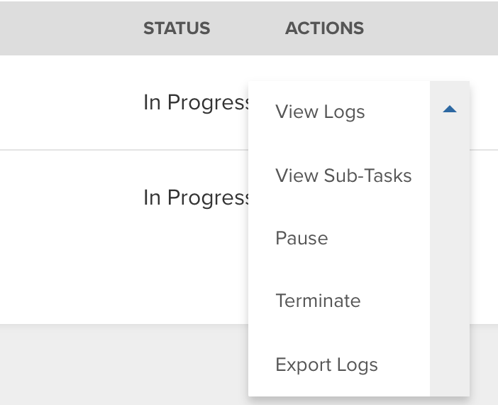 The Actions select box, displaying all available actions
