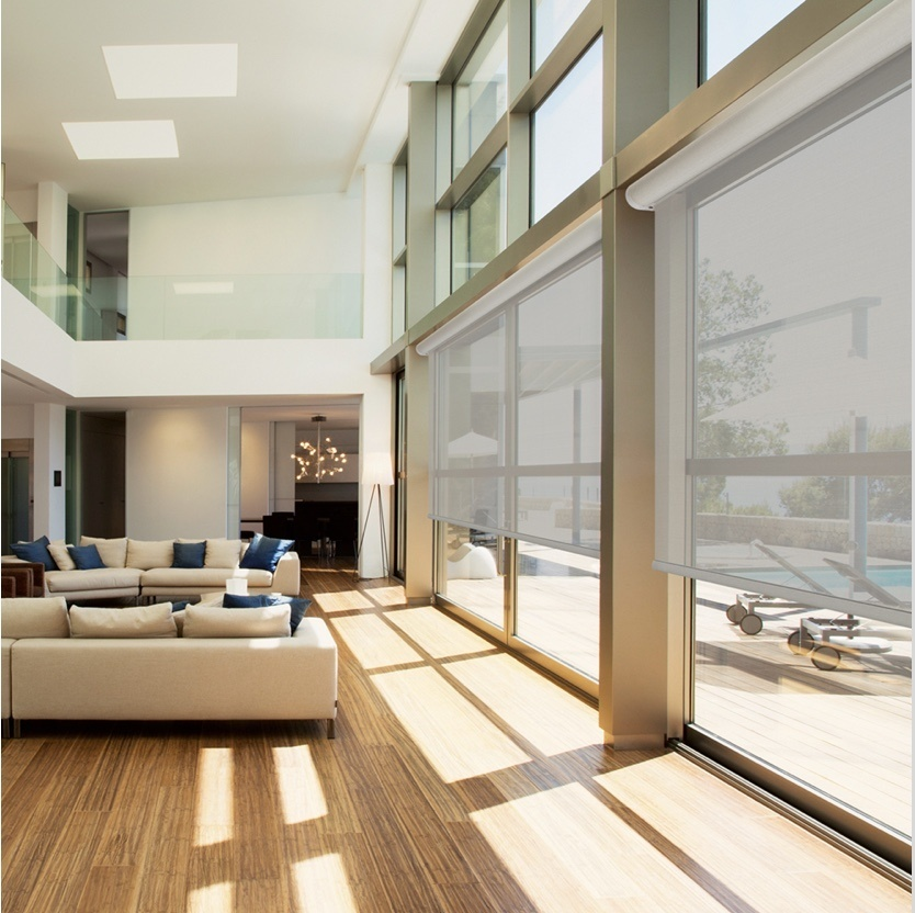 Living room with Qmotion shades on the windows