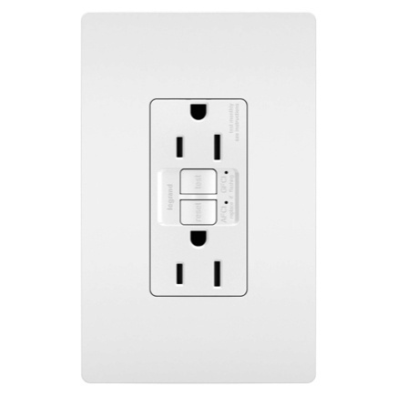 gfci/afci outlet with screwless wall plate