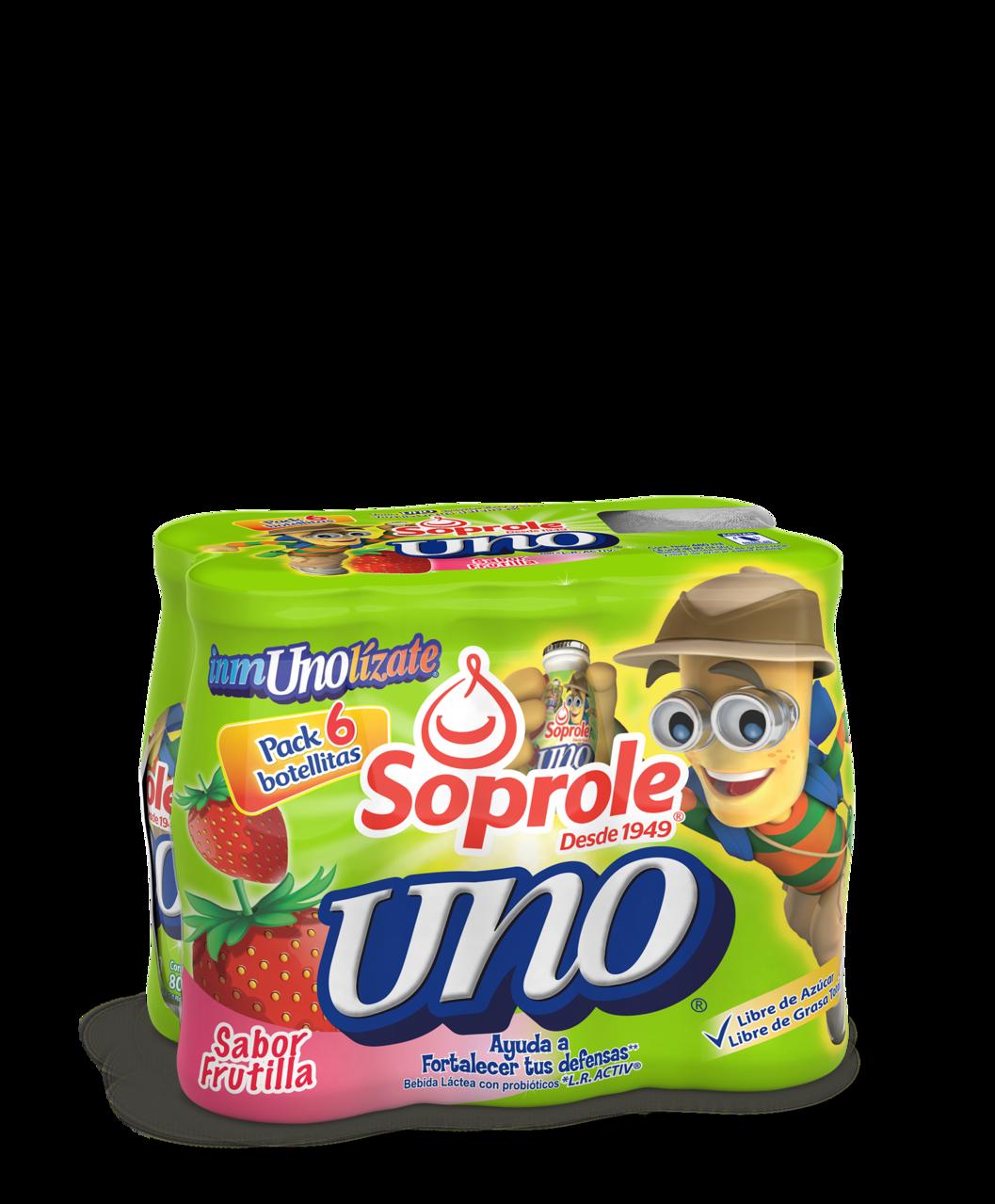 Soprole Uno sabor frutilla pack 6