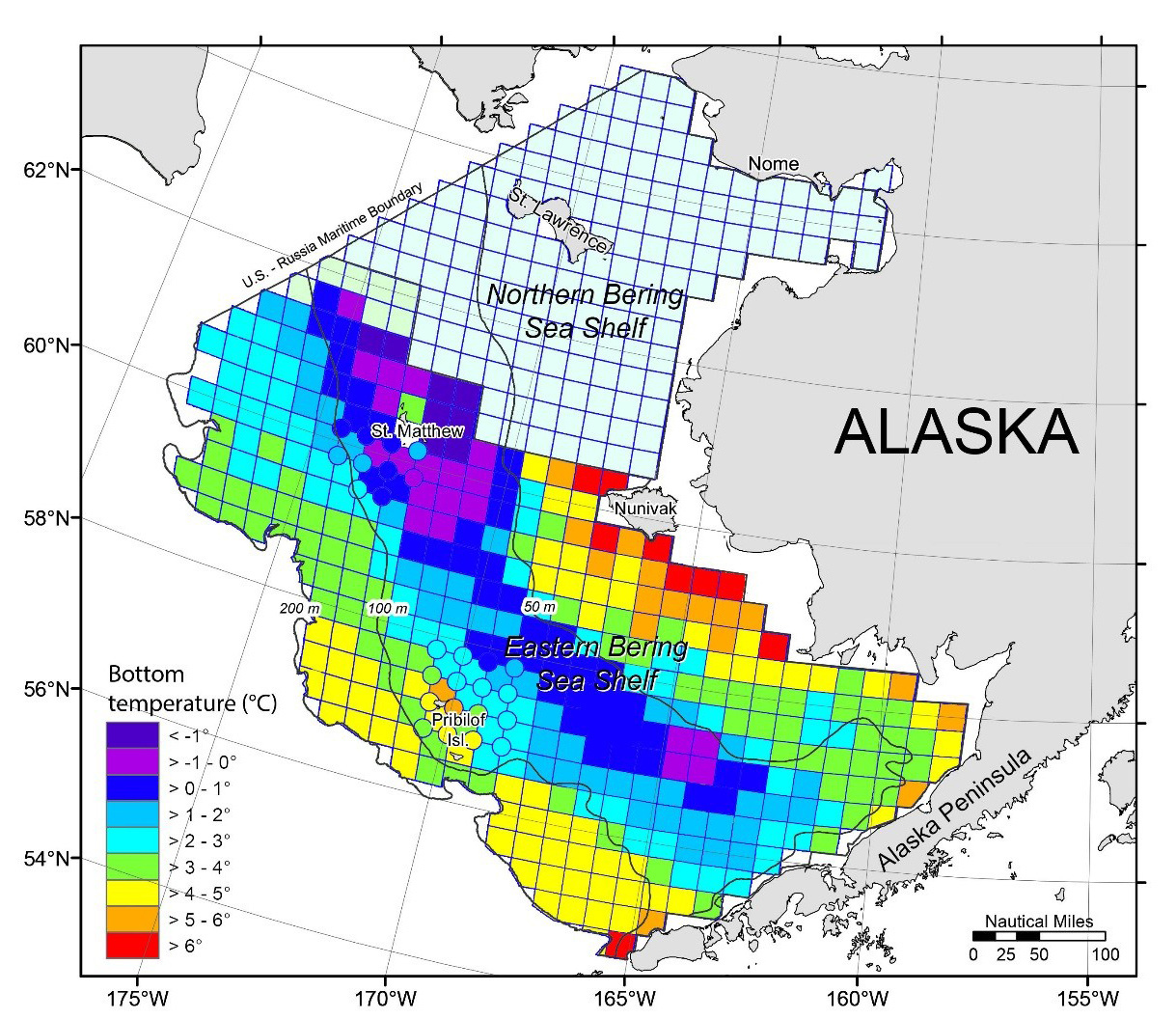 Ocean bottom temperatures during 2017 Eastern Bering Sea Shelf Bottom Trawl Survey.