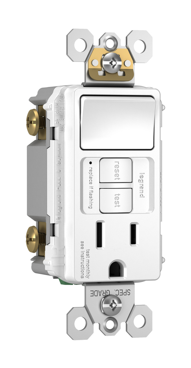 Radiant Combination Tamper Resistant 15a Self Test Single Pole Switch Gfci White Legrand