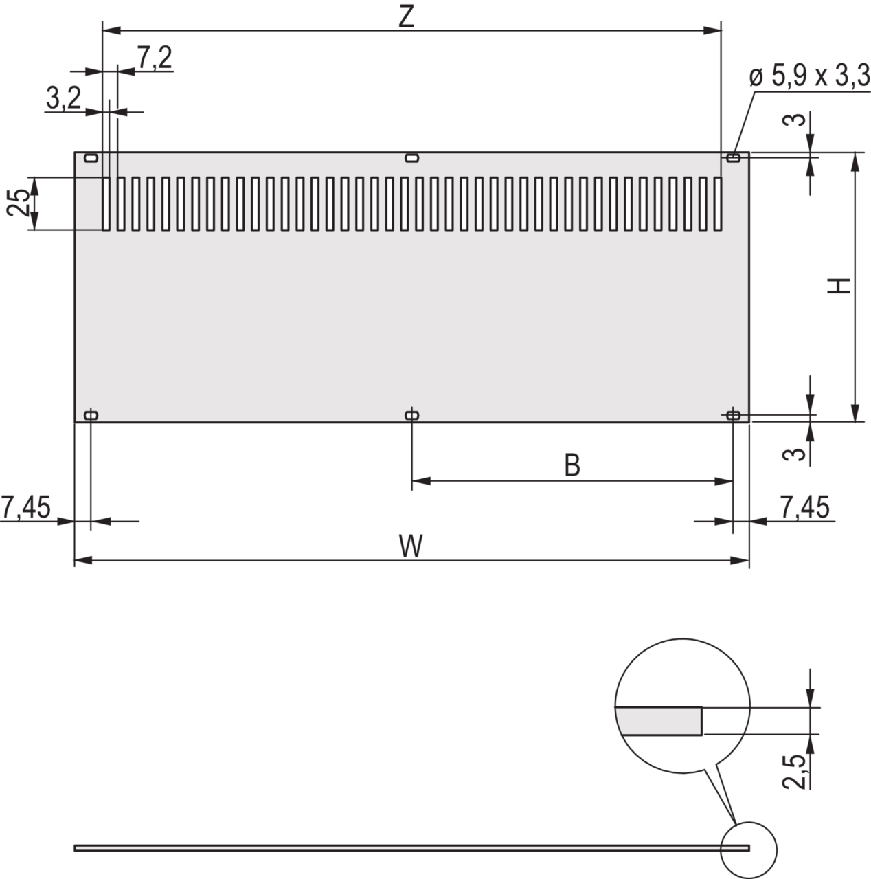 Image for Rear Panel, perforated, for mounting on horizontal rails, unshielded from Schroff - Asia Pacific