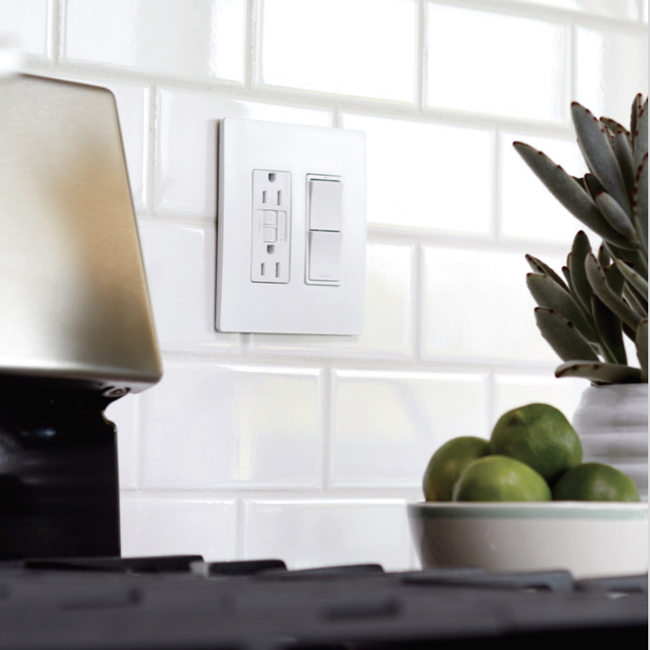 radiant collection gfci outlet with dual light switch in white