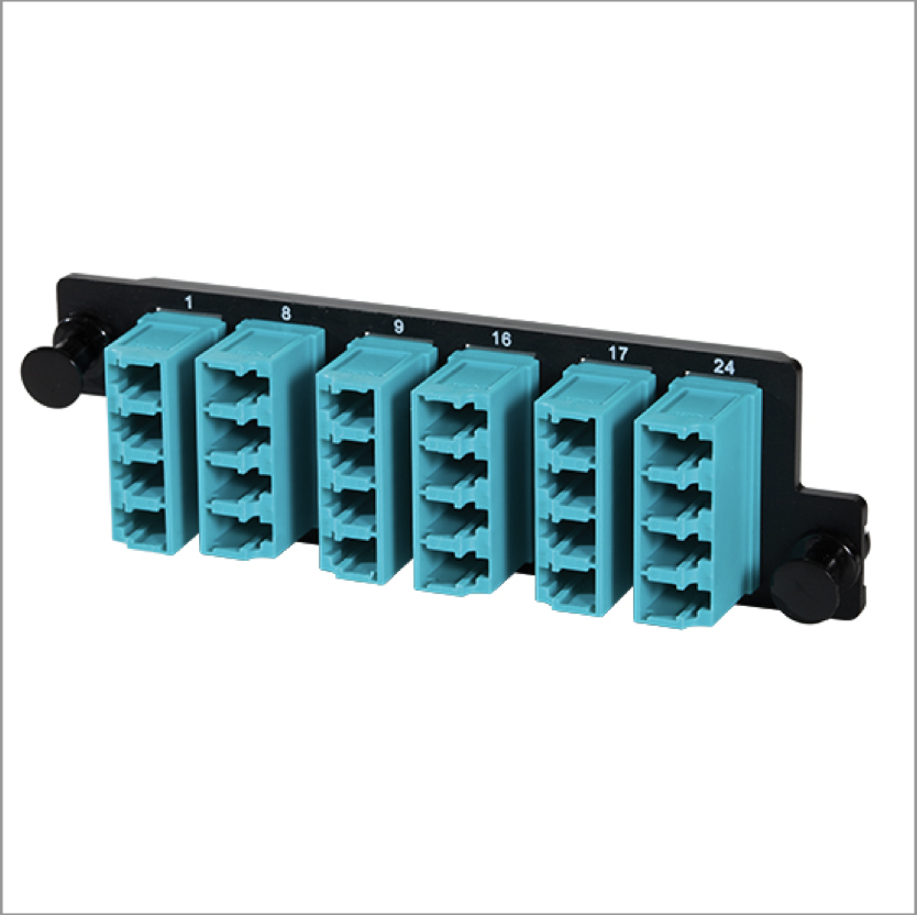 Adapter panels with teal connectors