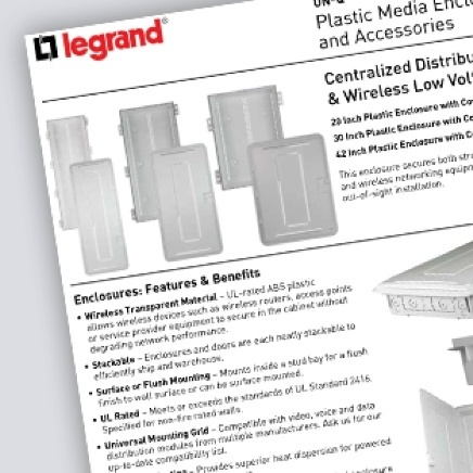 Spec sheet of Legrand product