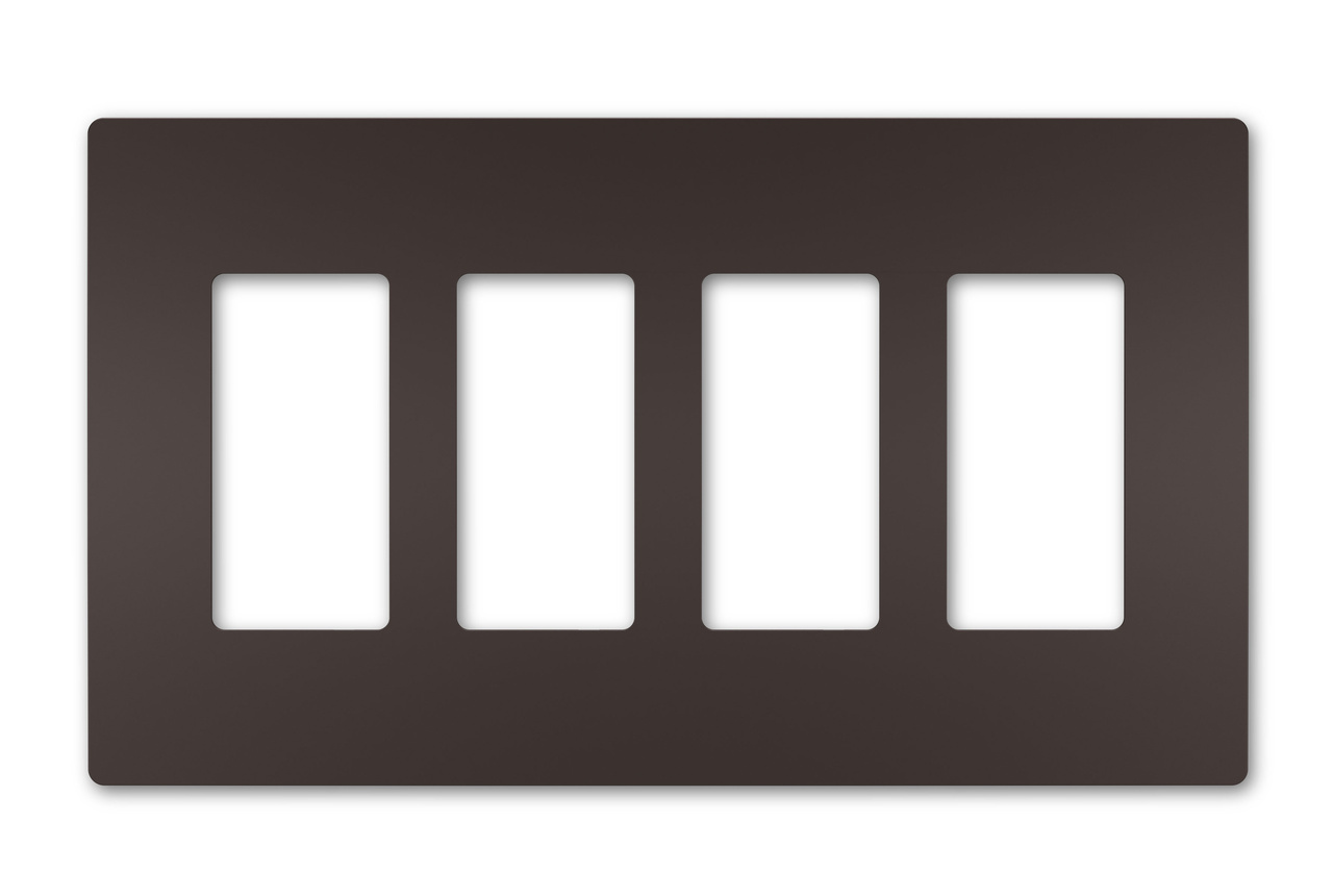Four-Gang Screwless Wall Plate, Dark Bronze