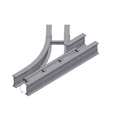 Cable tray 3D rendering of metallic horizontal fitting wye branch left section