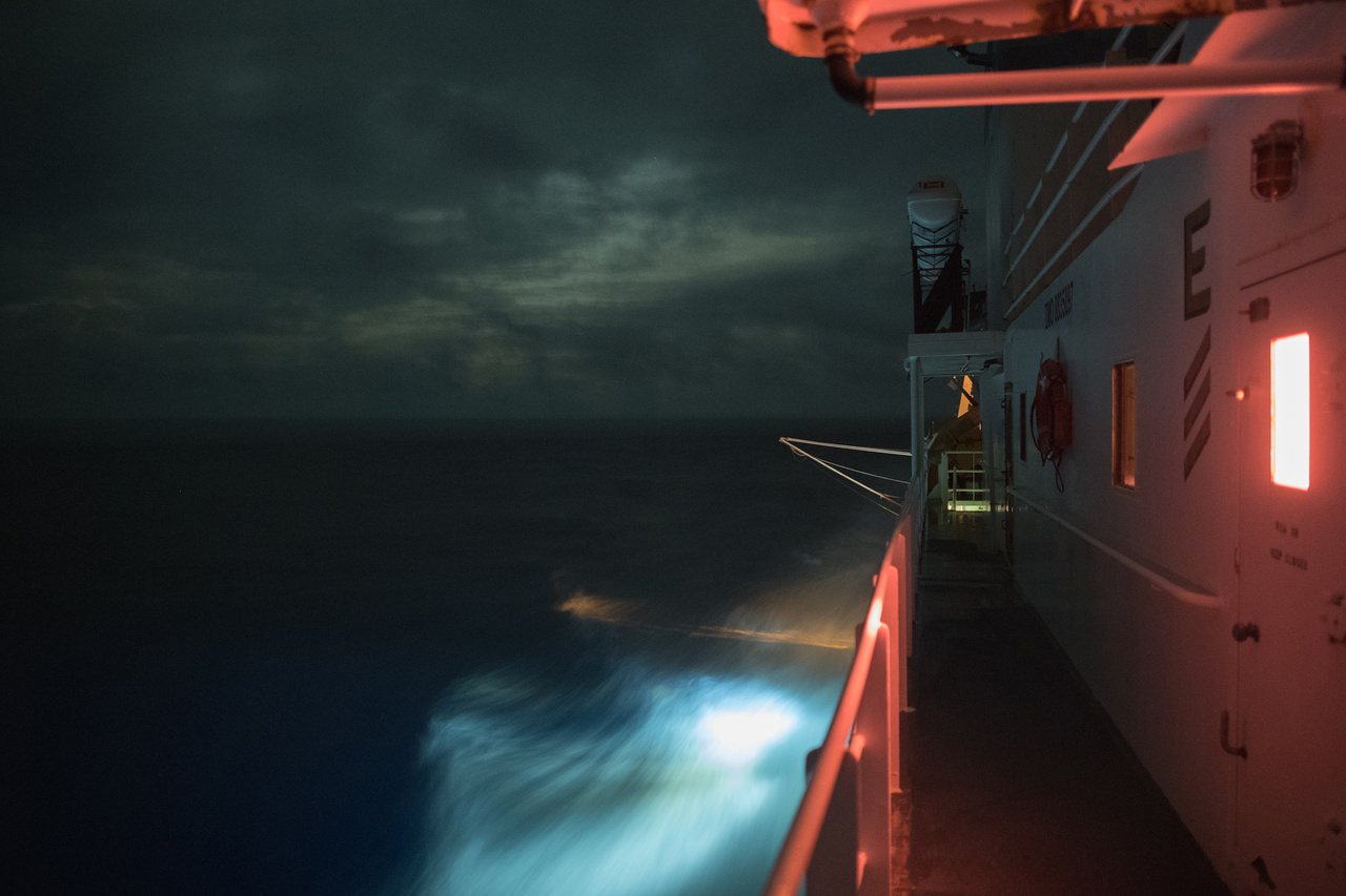 NOAA Ship Sette transits at night